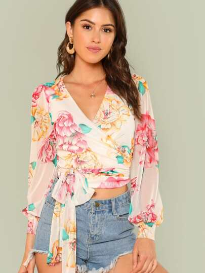 Floral Print Tie Front Sheer Crop Top
