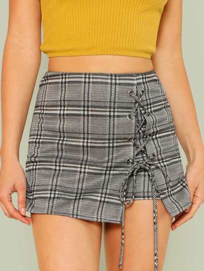 Plaid Checked Lace Up Skort