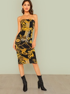 Medusa Print Strapless Bodycon Dress BLACK GOLD