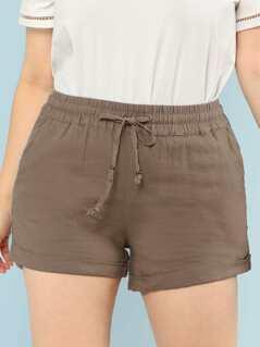 Plus Drawstring Waist Shorts