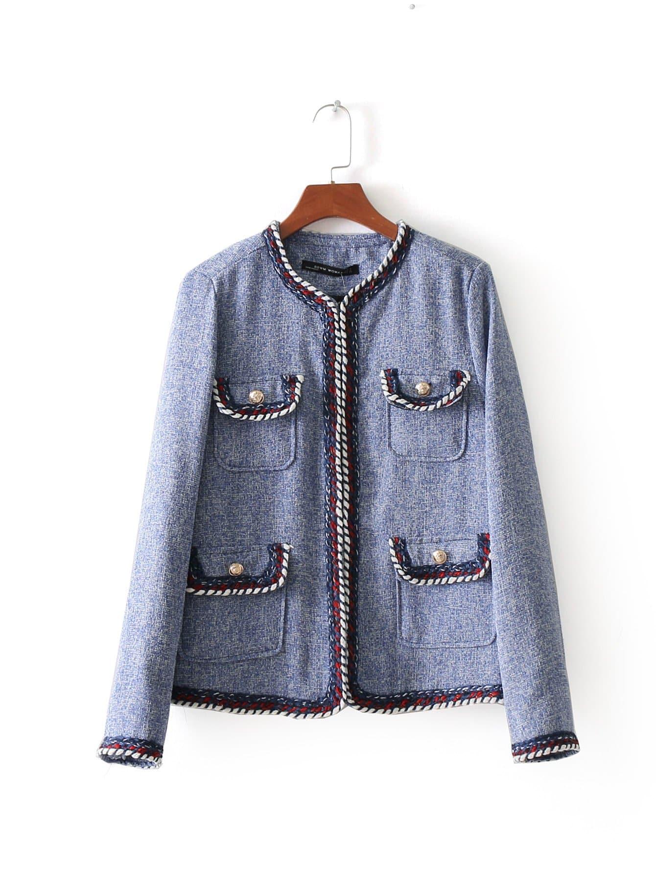 Contrast Trim Tweed Blazer