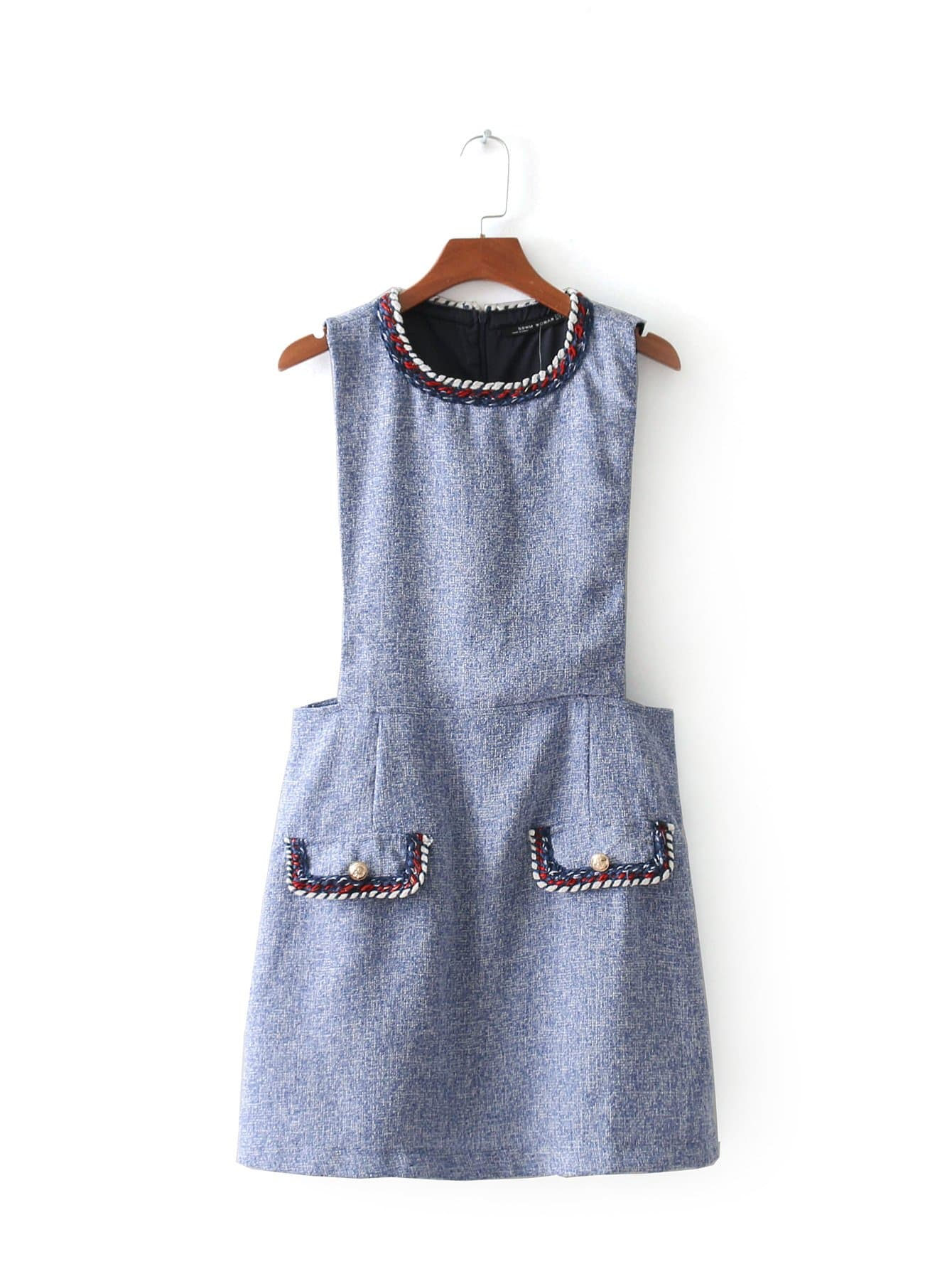 Contrast Trim Tweed Dress contrast tie neck faux pocket tweed dress