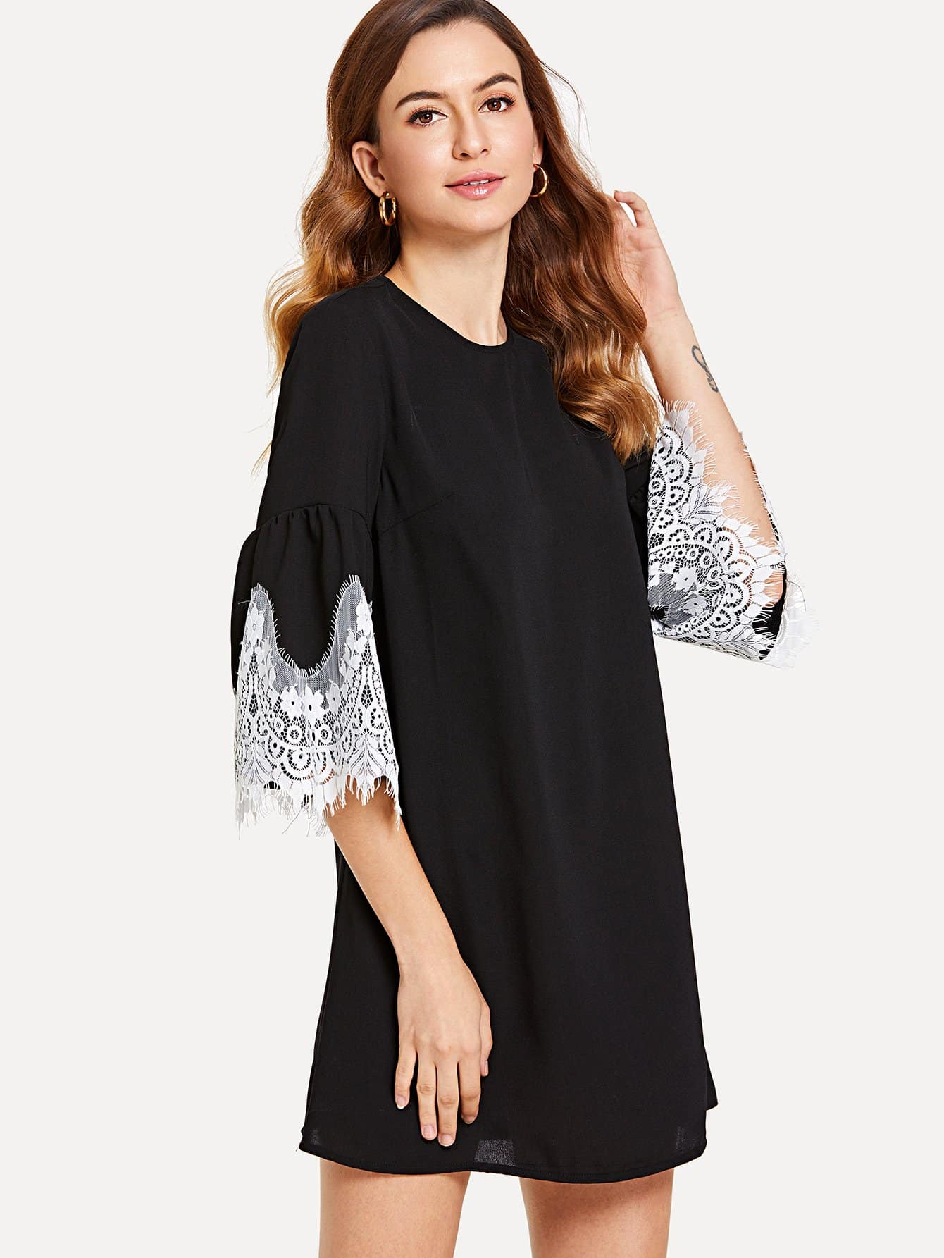 Contrast Lace Trim Tunic Dress embroidered trim tunic dress