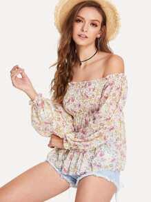Shirred Detail Floral Bardot Top