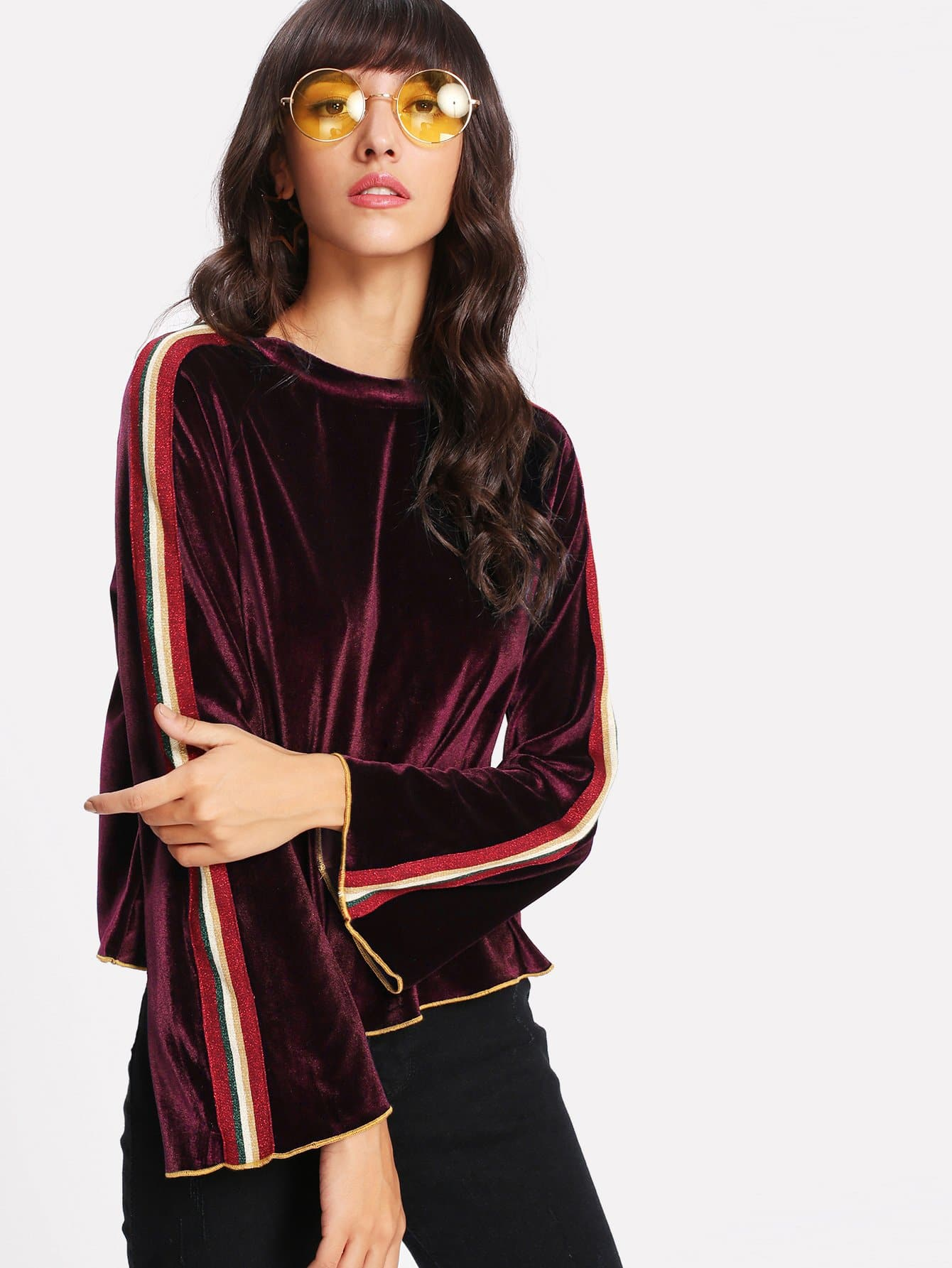 Striped Tape Detail Bell Sleeve Velvet Tee