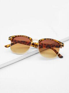 Leopard Browline Retro Sunglasses