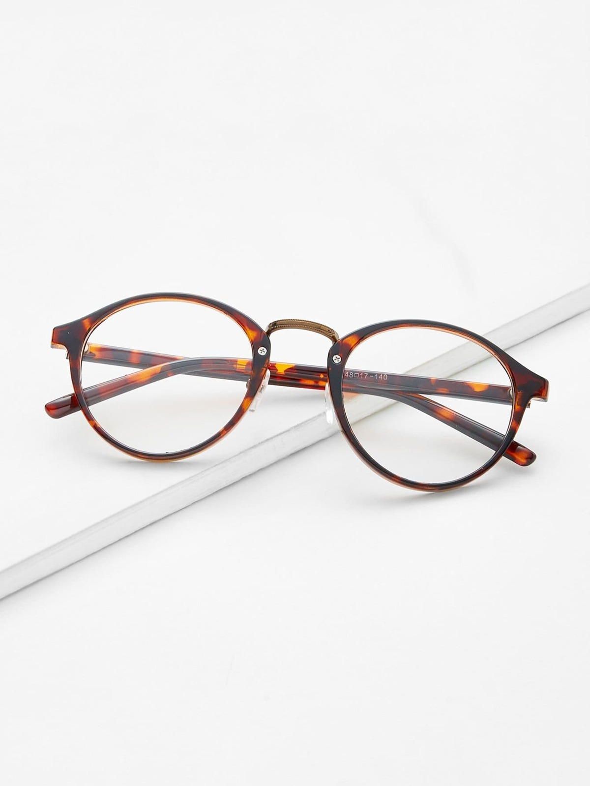 Brown Plastic Leopard Frame Round Glasses by Romwe