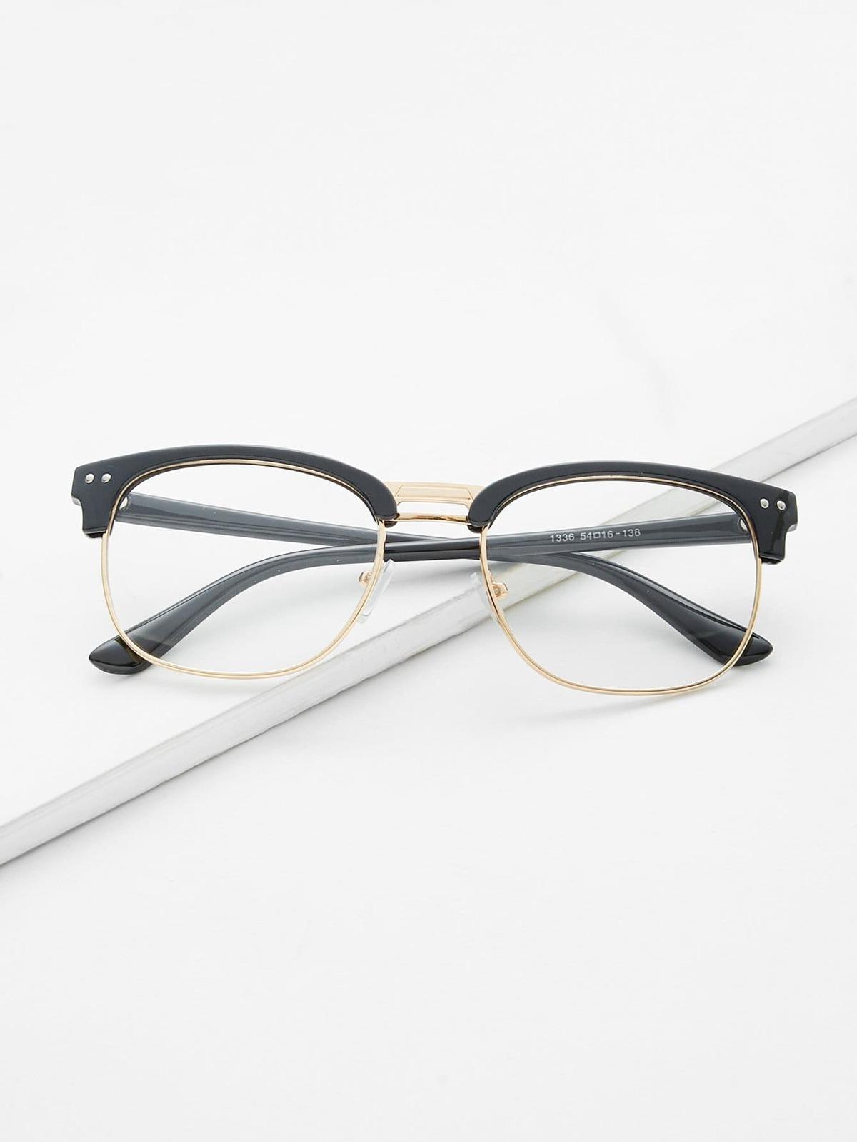 黑色 開放框 金色 裝飾 眼鏡