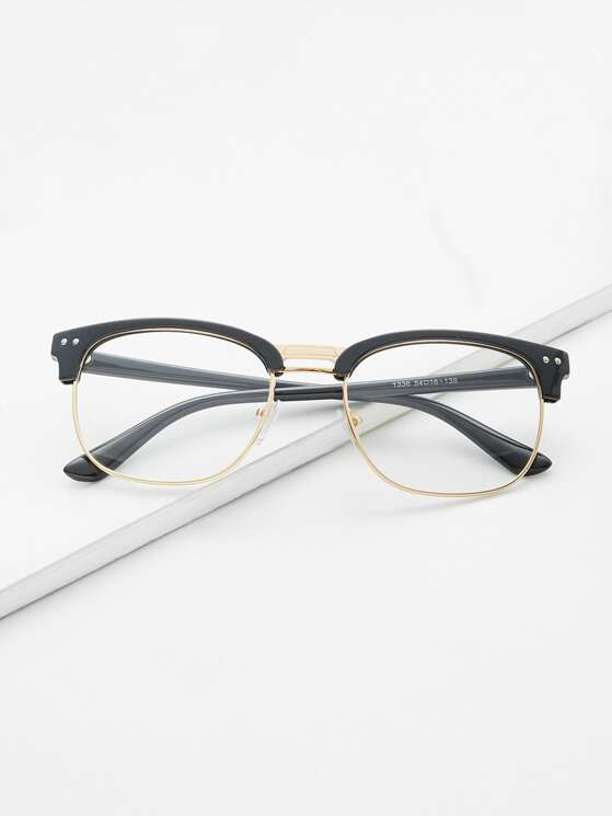 5725ad529d751 Black Open Frame Gold Trim Glasses