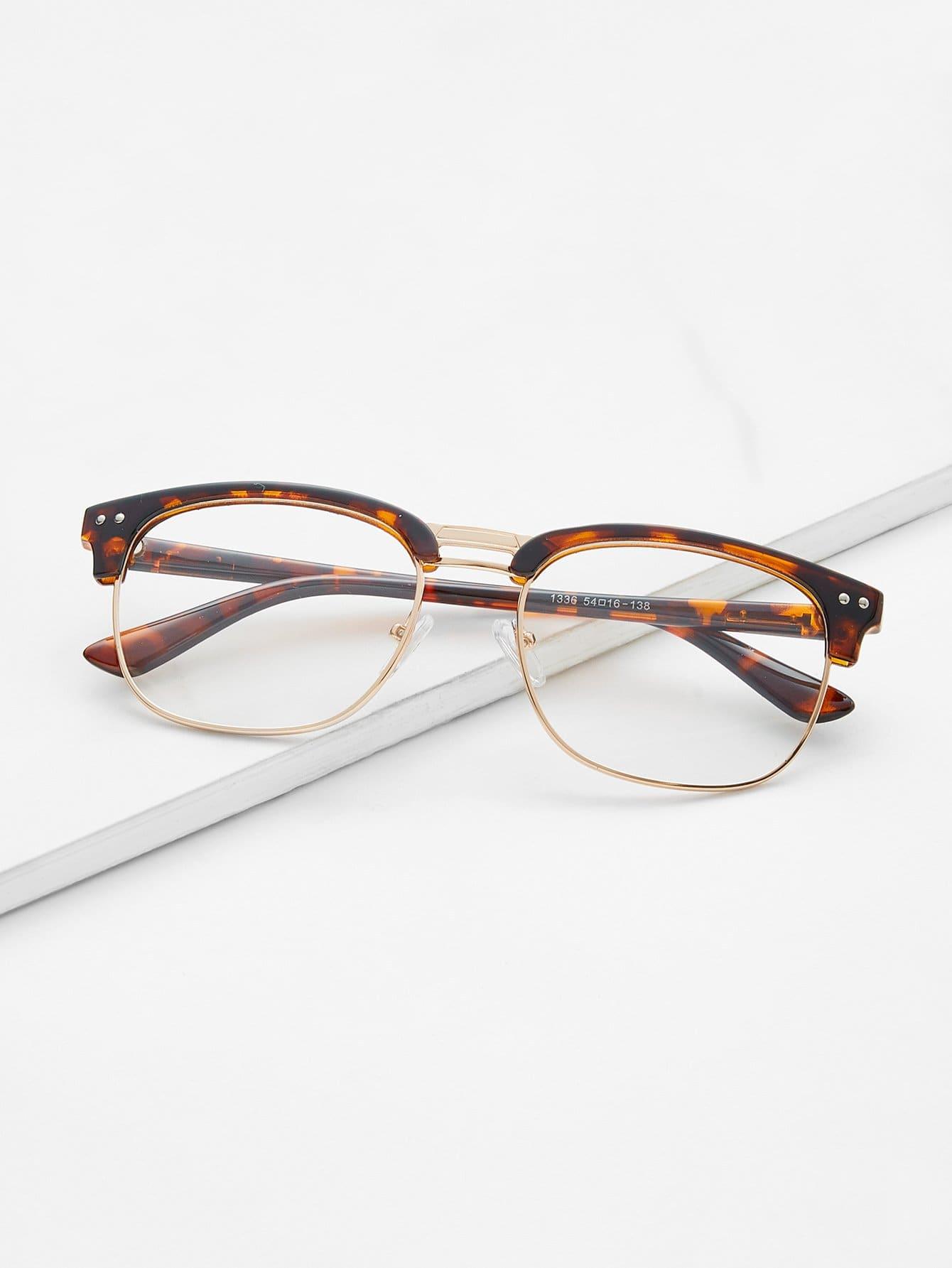 Leopard Print Open Frame Gold Trim Glasses black open frame gold trim glasses