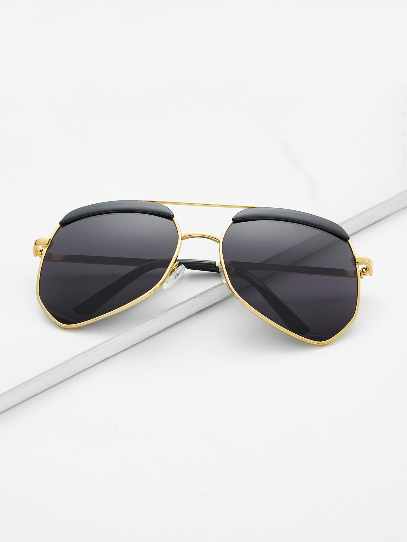 Gold Frame Double Bridge Black Lens Sunglasses black bridge