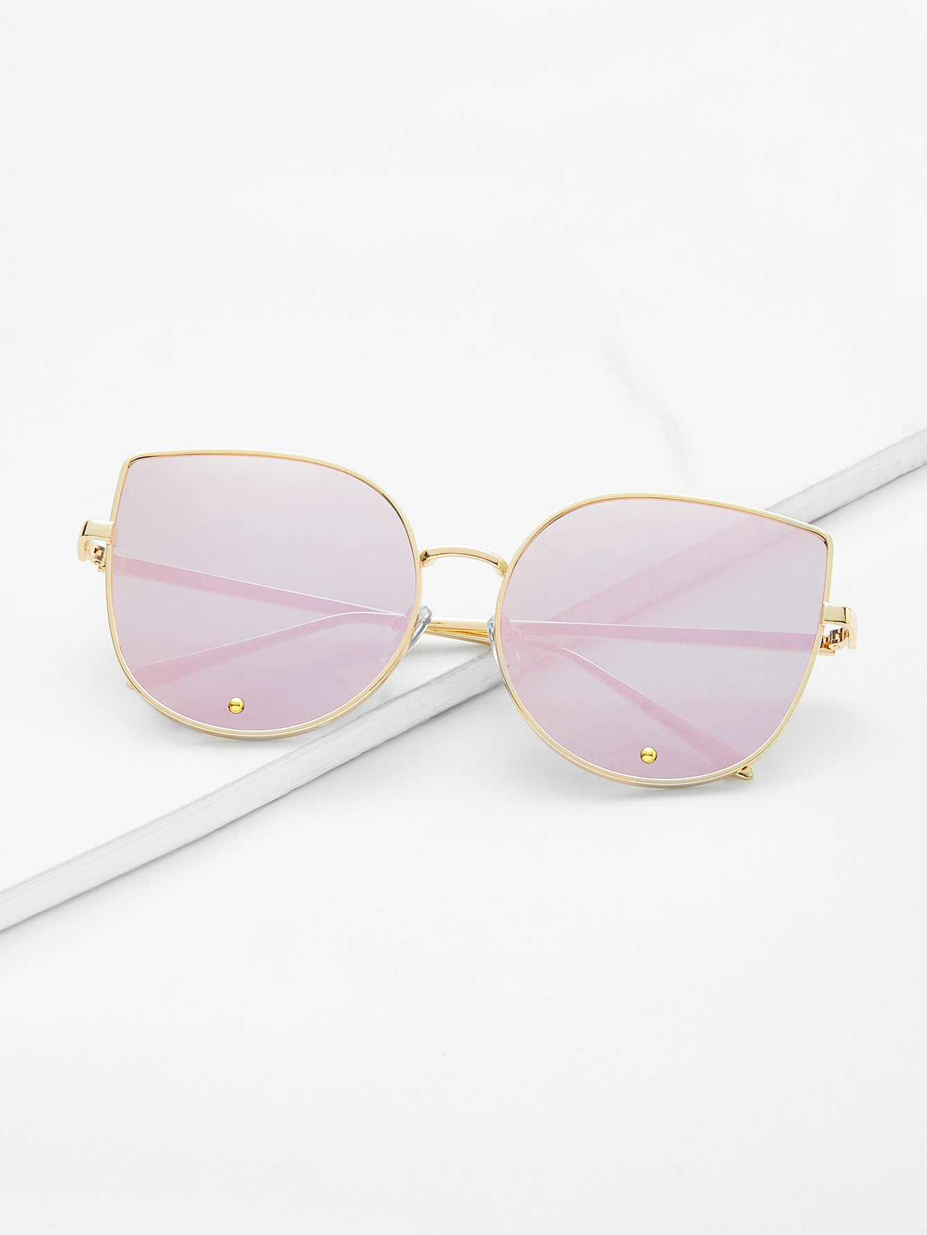 Gold Frame Pink Cat Eye Stylish Sunglasses stylish cat ears round sunglasses