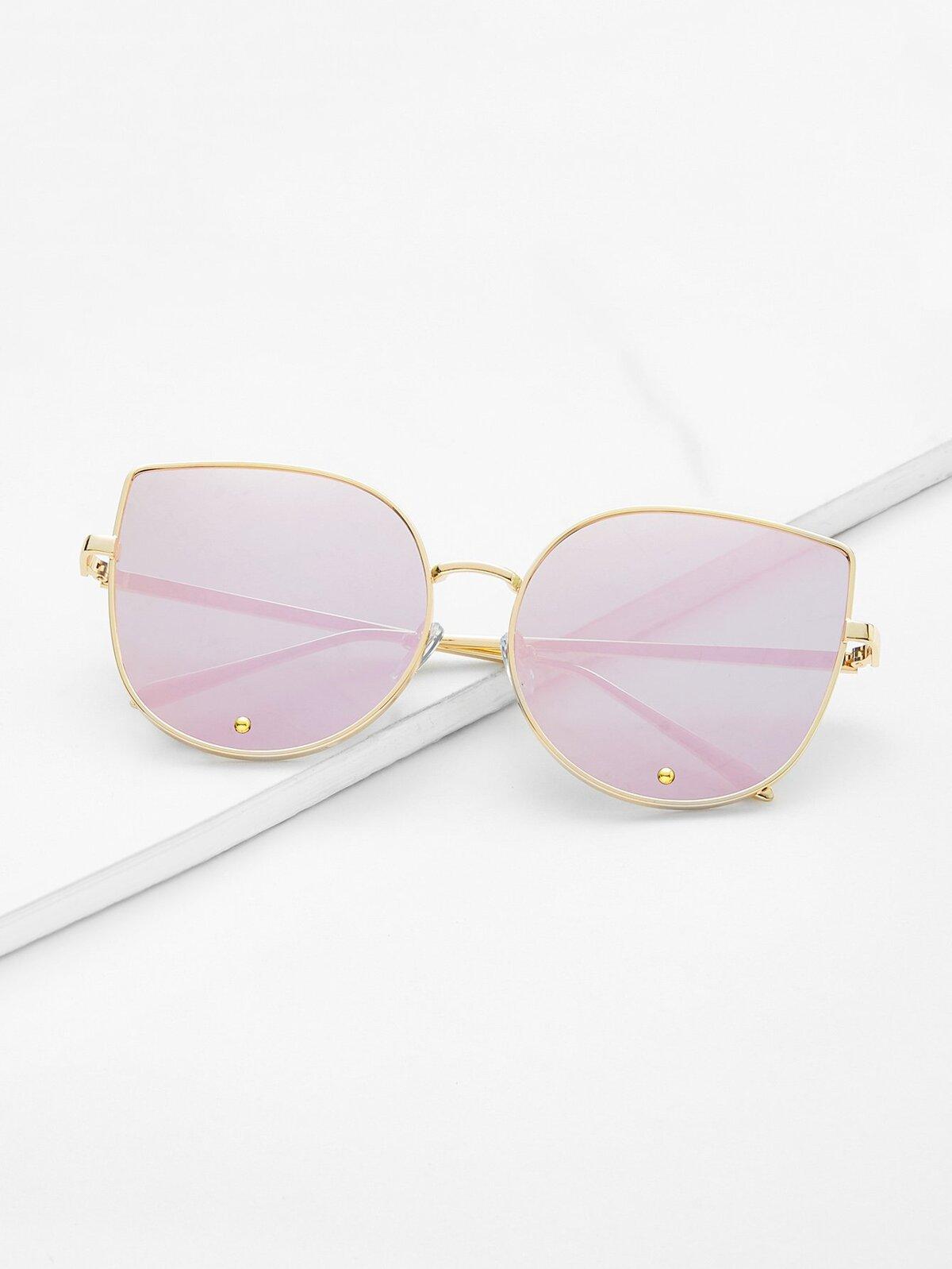 金色 框 粉紅色 貓眼 時尚 太陽眼鏡