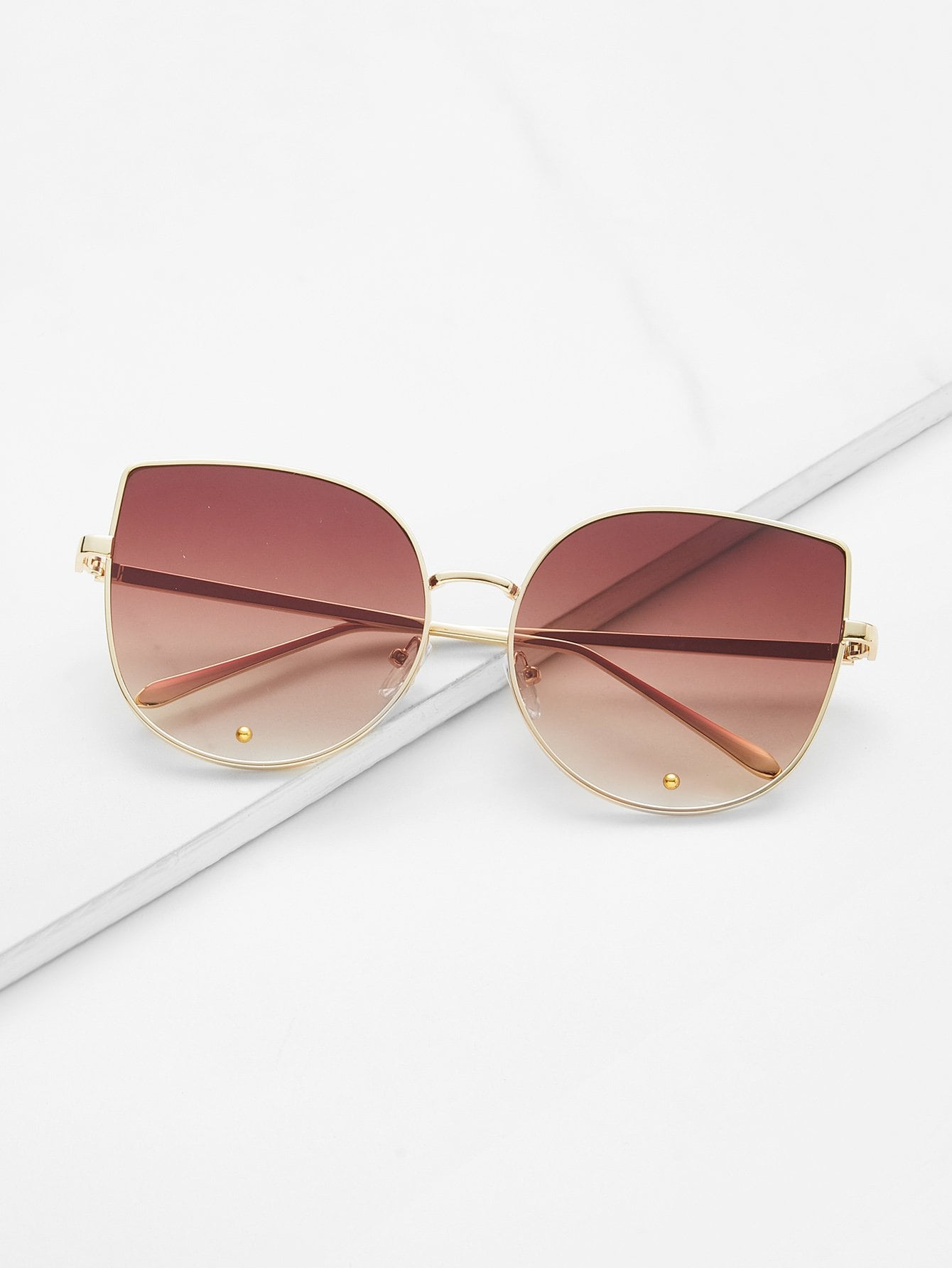 Gold Frame Brown Cat Eye Stylish Sunglasses stylish cat ears round sunglasses