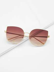 Gold Frame Brown Cat Eye Stylish Sunglasses