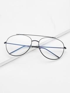 Black Frame Clear Lens Double Bridge Glasses