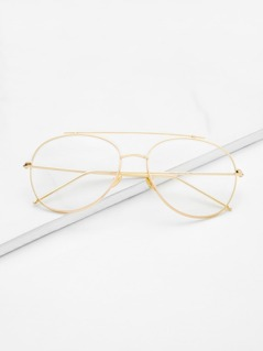 Gold Frame Clear Lens Double Bridge Glasses