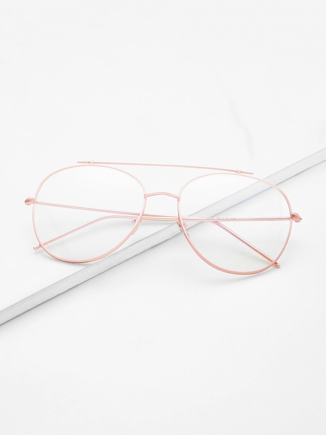 Rose Gold Frame Clear Lens Double Bridge Glasses black open frame gold trim glasses