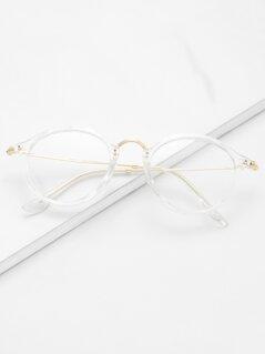 Transparent Frame Metal Top Bar Glasses