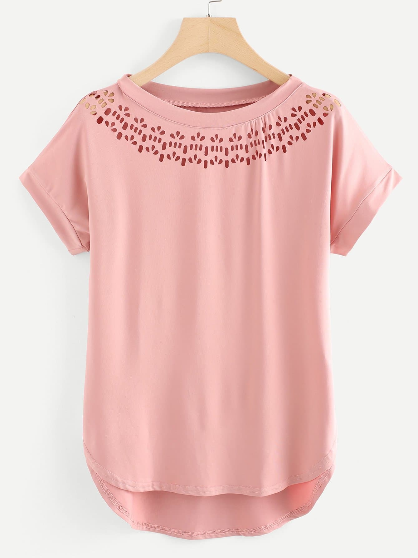 Laser Cut High Low Curved Hem T-shirt striped high low curved hem top