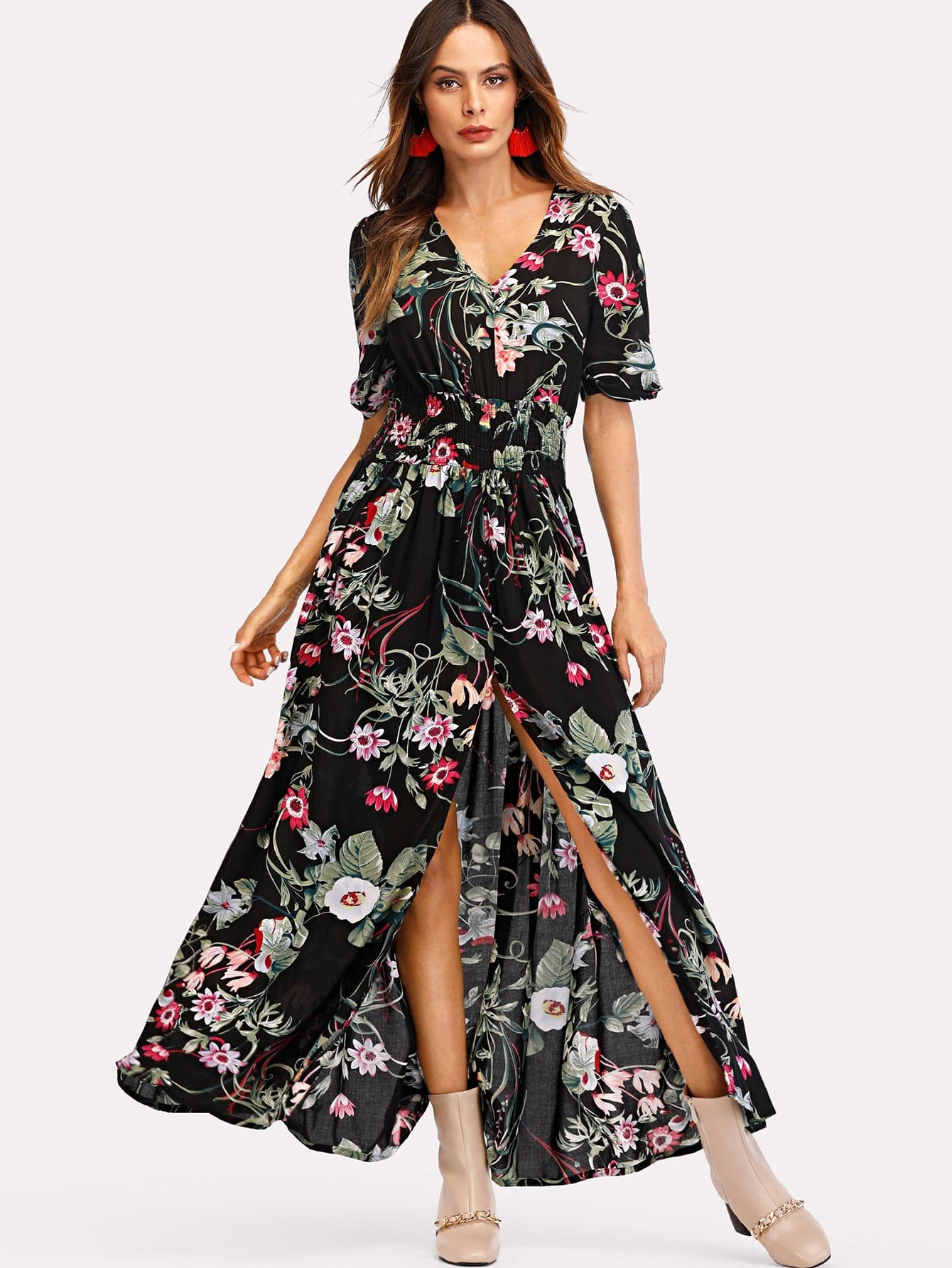 V Neckline Floral Print Split Dress depp v neckline split top