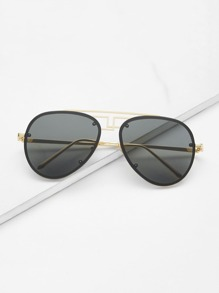 Asymmetrical Top Bar Rimless Aviator Sunglasses