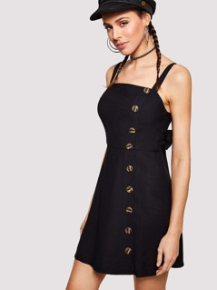 Knot Bow Back Button Up Strap Dress