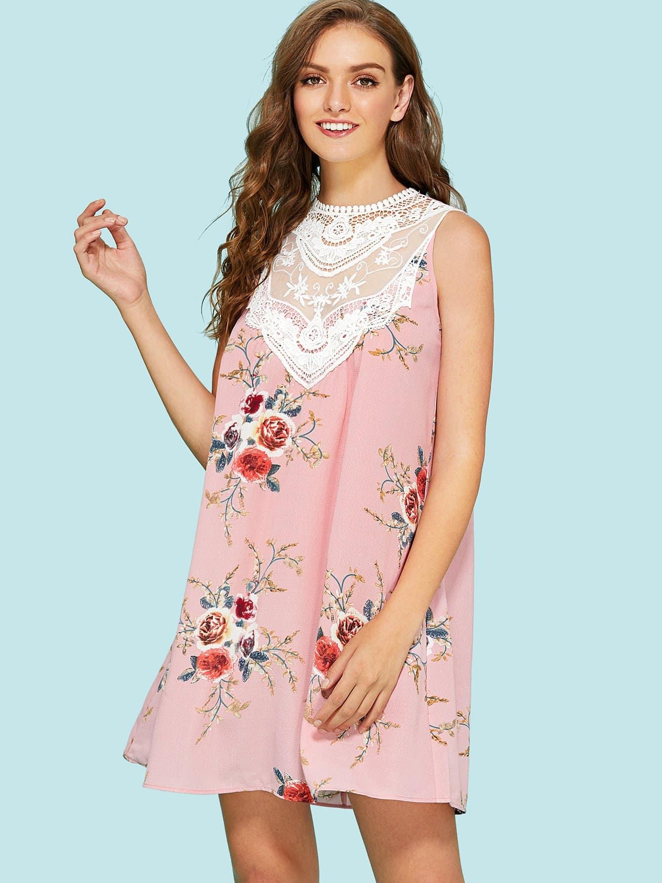 Lace Insert Floral Swing Dress lace velvet swing dress