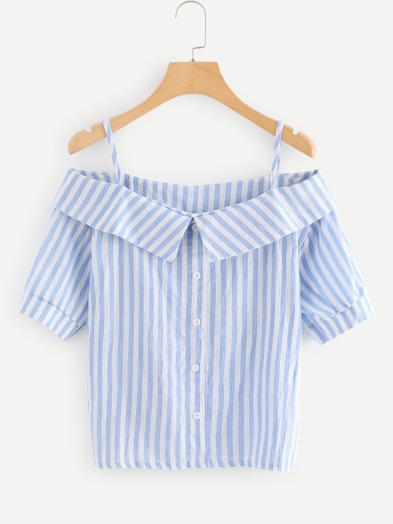 Off The Shoulder Striped Button Detail Top pearl detail layered frill sleeve top