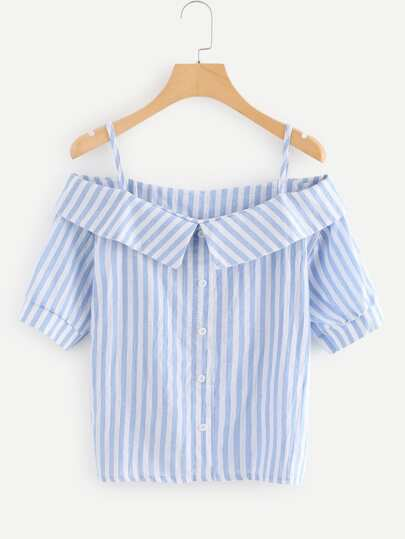 Off The Shoulder Striped Button Detail Top