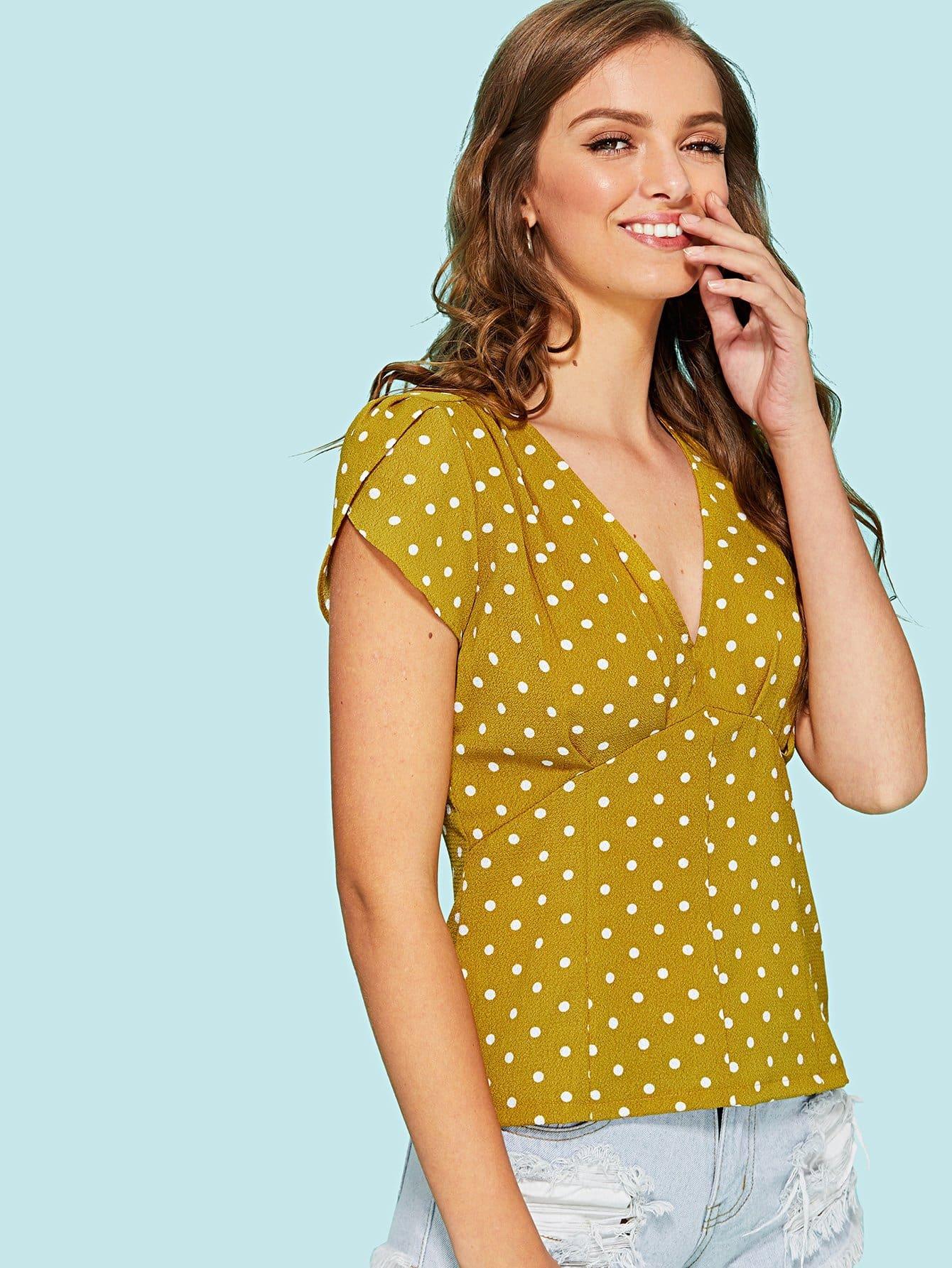 Petal Sleeve Polka Dot Pleated Top roll up sleeve polka dot top