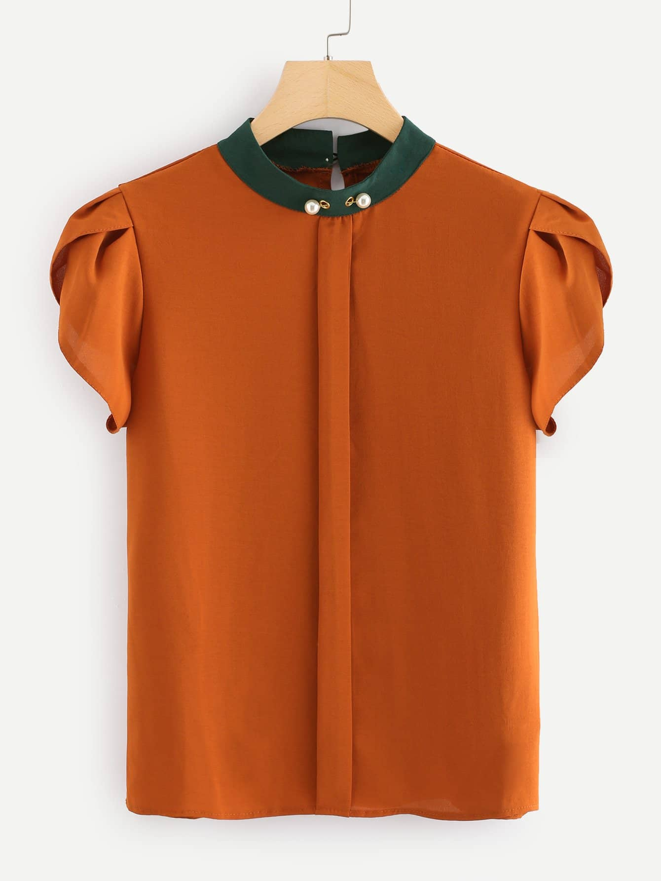 Petal Sleeve Pearl Detail Top pearl detail layered frill sleeve top