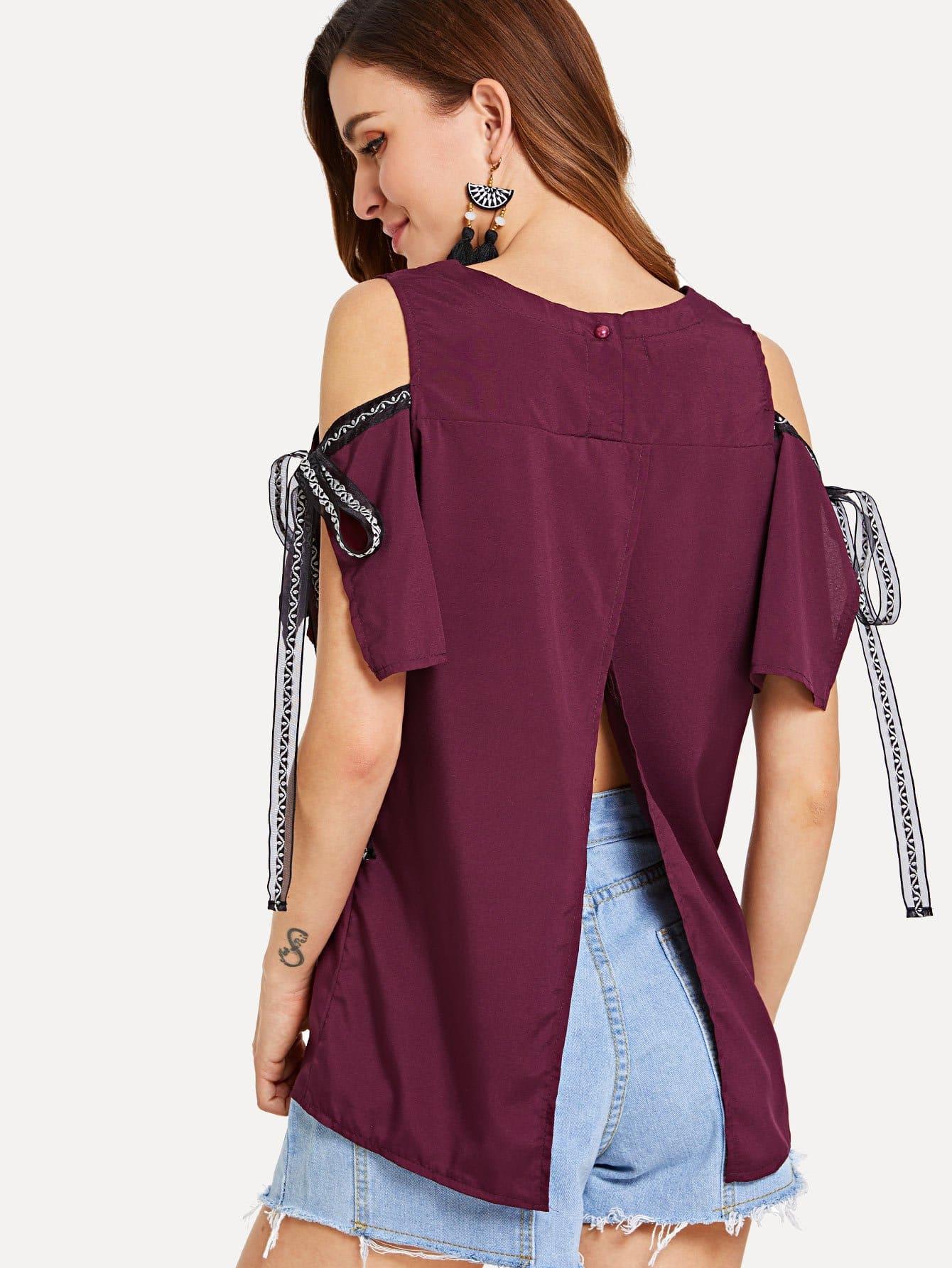Open Shoulder Split Back Knot Top zip up back knot plaid top