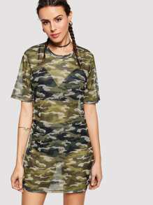 Camouflage Hollow Out Dress