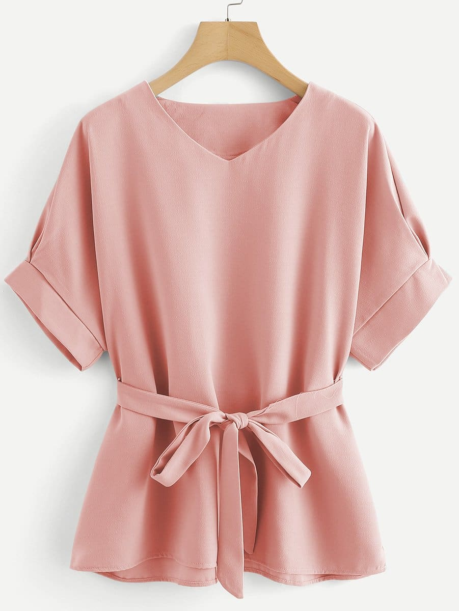 Купить Блузка с v-образным воротником и на веревочке, null, SheIn