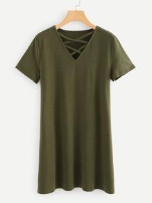 V Neckline Criss Cross Dress