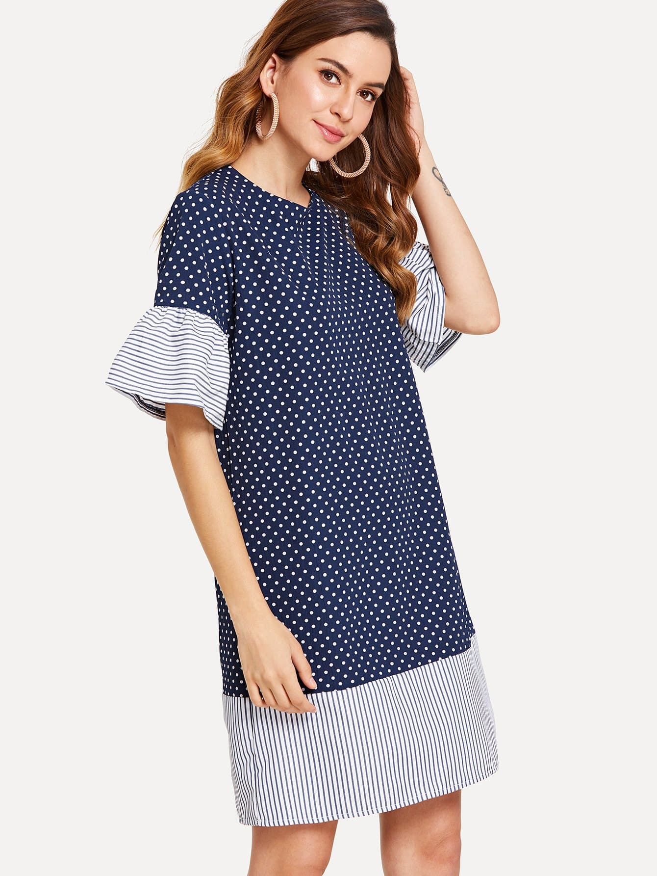 Polka Dot Contrast Striped Dress polka dot slit hem contrast dress