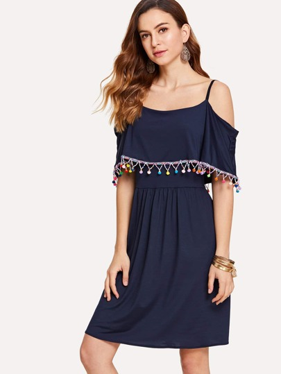 Fringe Detail Pom Pom Dress