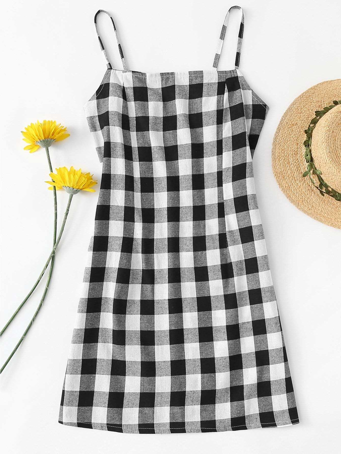 Plaid Cami Dress zip back fit and flared plaid dress