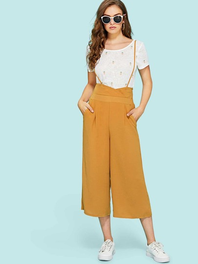 Elastic Back Wide Leg Pleated Jumpsuit