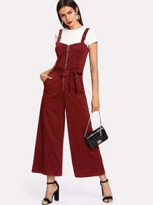 Zip Front Self Tie Wide Leg Jumpsuit