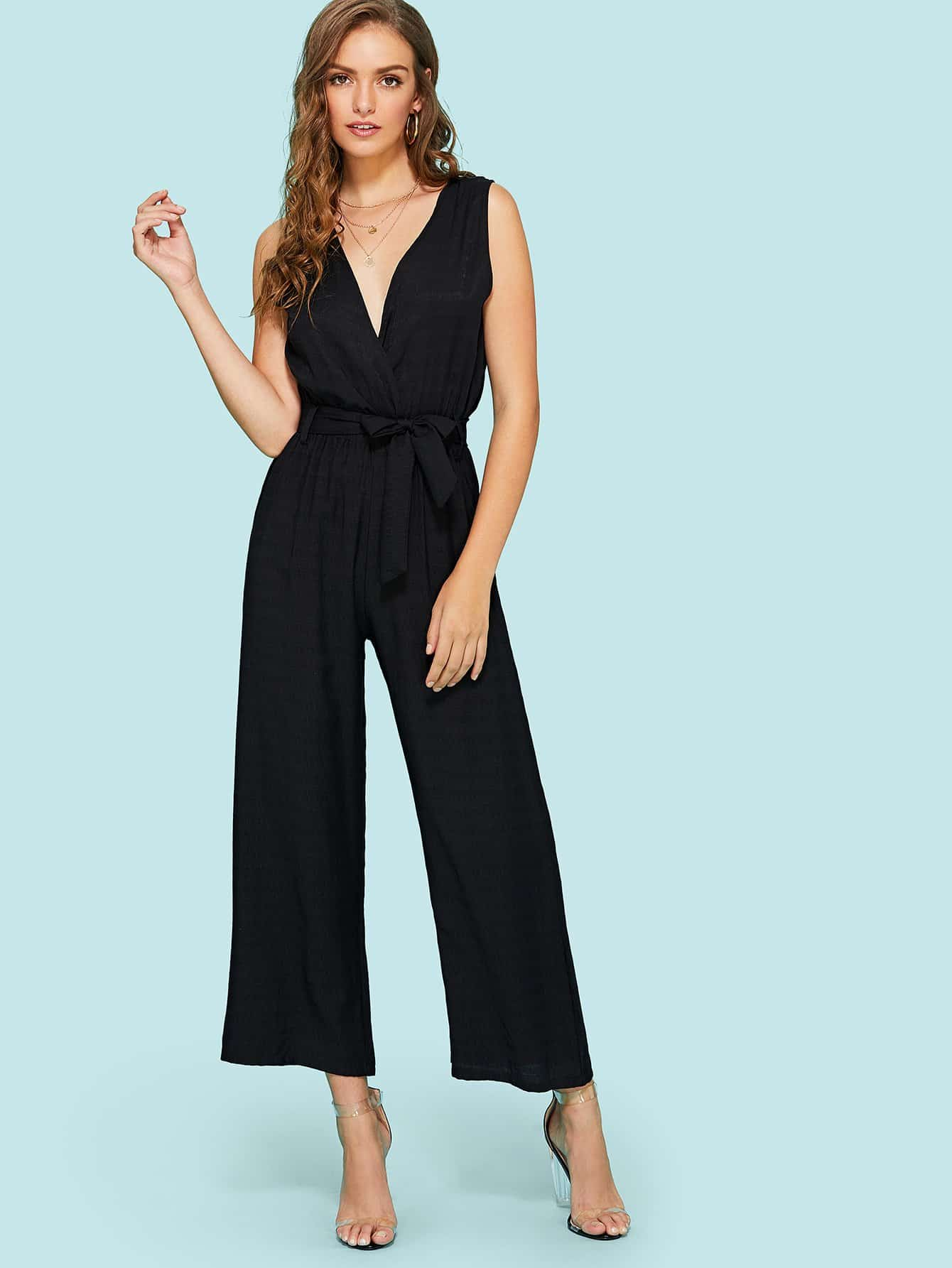 Deep V Neckline Knot Front Wrap Jumpsuit wrap front floral jumpsuit with belt