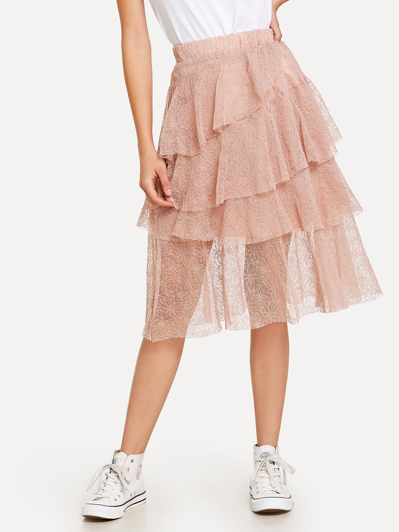 Lace Tiered Layer Skirt lace tiered layer skirt