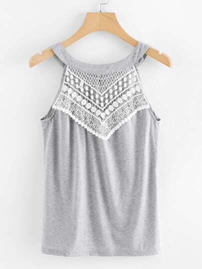 Contrast Lace Cut Out Top