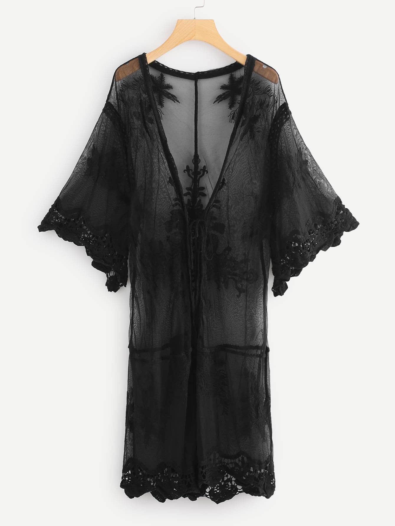 Sheer Mesh Trim Kimono футболка violana цвет темно бежевый