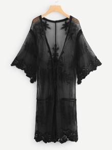 Sheer Mesh Trim Kimono