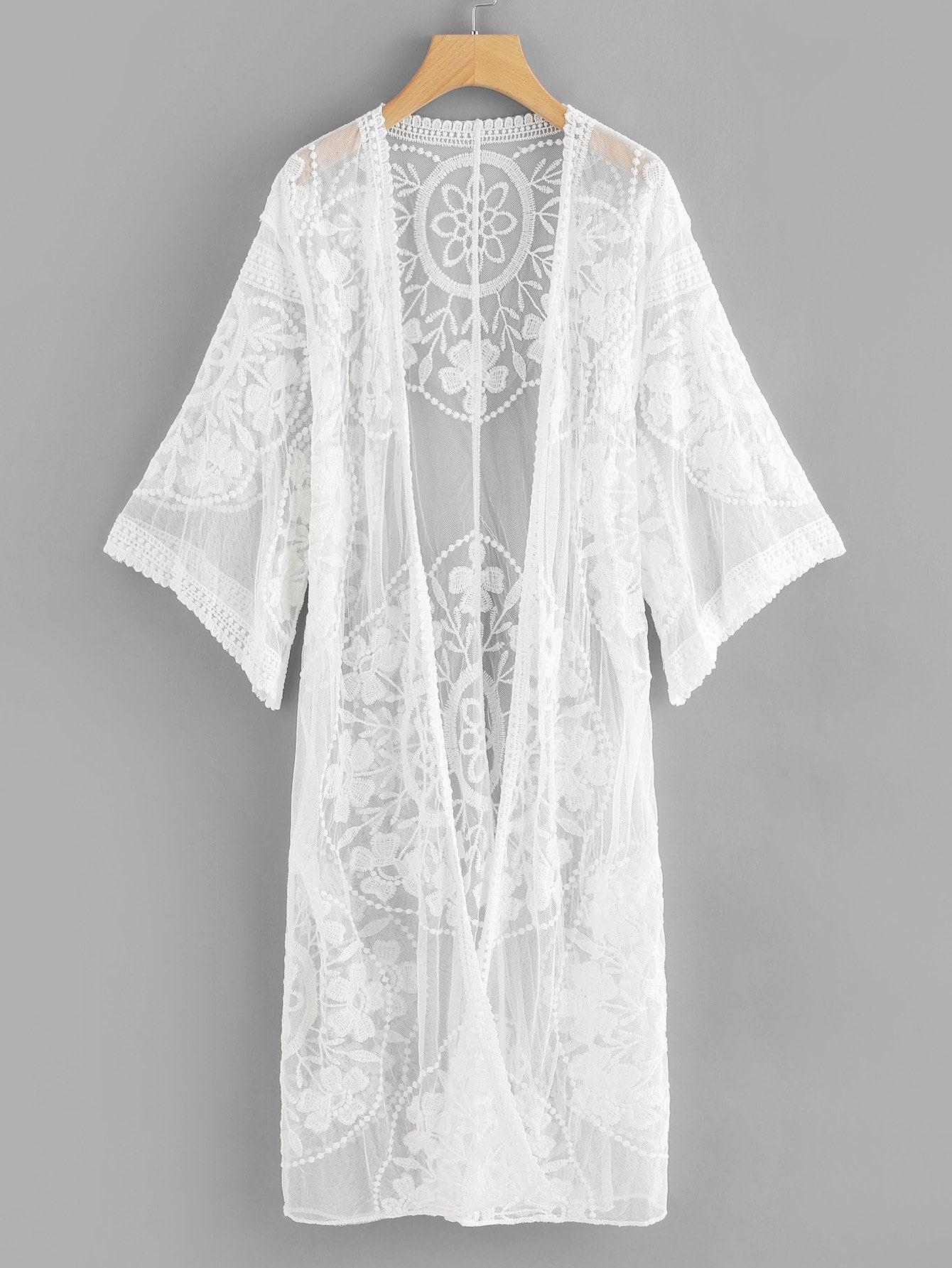 Купить Прозрачное кимоно с кружевами, null, SheIn