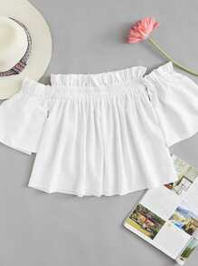 Frill Trim Pleated Top