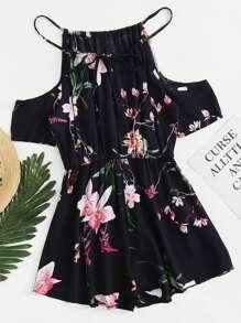 Open Shoulder Floral Print Romper