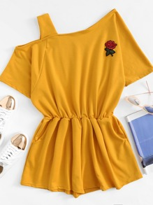 Asymmetrical Neck Rose Patch Romper
